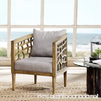 "Ink+Ivy IIF18-0054 Crackle Accent Chair  27"" W x 29"" D x 32.5"" H  Light Grey/Natural - B0192W9Z5M"