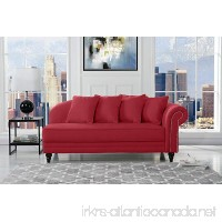 Sofamania Large Classic Velvet Fabric Living Room Chaise Lounge with Nailhead Trim (Red) - B077VKFQTZ