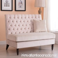 Belleze Beige Velvet Modern Loveseat Bench Sofa Tufted High Back Love Seat Bedroom Settee - B074HVJY5V