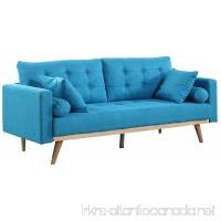 Divano Roma Furniture Mid-Century Modern Tufted Linen Fabric Sofa (Light Blue) - B01M0N5HGO