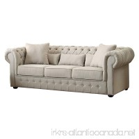 Homelegance 8427-3 Grand Chesterfield Button Tufted Upholstered Fabric Rolled Arm Sofa - B00X9RRVMQ