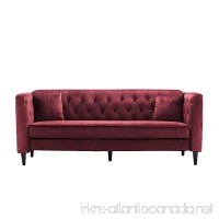 Mid-Century Tufted Velvet Sofa Living Room Couch with Tufted Buttons (Red) - B075THHKFB