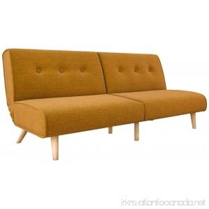 Novogratz Palm Springs Convertible Sofa Sleeper in Rich Linen Sturdy Wooden Legs and Tufted Design Mustard Linen - B072V8BW3H
