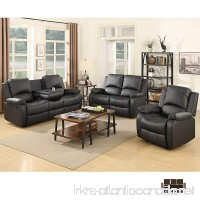 SUNCOO 3-Piece Bonded Leather Recliner Sofa Set with Cup Holder Loveseat Chair Living Room Furniture Set Black - B01M1H684Q