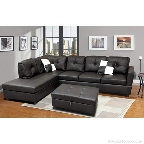 Winpex 3 Piece Faux Leather Sectional Sofa Set With Free Storage
