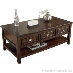 Ashley Larimer Rectangular Coffee Table with Drawers in Dark Brown - B00BJDU5FC