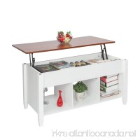 Bonnlo Lift Top Coffee Table with Storage Shelf w/Hidden Compartment and 3 Lower Open Shelves for Living Room (White) - B07DNVNLJZ