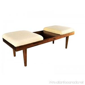 Design 59 inc RETRO Mid-Century Modern Acacia Wood Coffee Table Ottomans or Bench (Oatmeal Natural Linen) - B07CT6N1WF