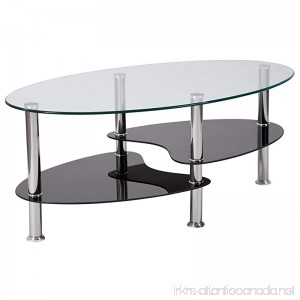 Flash Furniture Hampden Glass Coffee Table with Black Glass Shelves and Stainless Steel Legs - B0797MJV8K