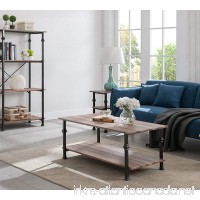 Reclaimed Oak/Metal Frame 2-tier Industrial Style Rectangular Coffee Table with Lower Shelf - B07D3FH9GR