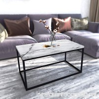 Roomfitters White Marble Print Coffee Table Upgraded Water Resistant Version Accent Rectangular Cocktail Table with Black Metal Box Frame - B079DQ3V6W
