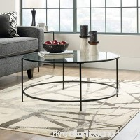 Sauder Soft Modern Round Coffee Table Black/Clear Glass - B00GP1O2S4
