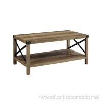 WE Furniture Living Room 40 Metal X Coffee Table - Rustic Oak/Black - B07G387SMH