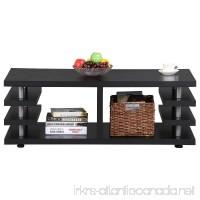 Yaheetech Modern Black Wood Coffee Table Iron Tube Legs Multi Tier Design with Storage Shelf Living Room Furniture - B01N4PMEXU