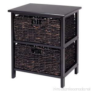 Giantex Wood End Accent Table Home Furniture Living Room Night Stand W/2 Storage Baskets (2 Baskets) - B07119ZKDW