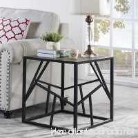 """Homissue 21.7""""Height Vintage Industrial End Table with Criss-cross Design  Square Accent Table/Night Stand  Decorative for Bedroom and Living Room  Retro Brown Finish - B077Y1HQRX"""