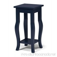 Kate and Laurel Lillian Wood Pedestal End Table Curved Legs with Shelf  Navy Blue - B01H41VI58