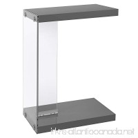 Monarch Specialties I 3216 Glossy Grey with Tempered Glass Accent Table - B01D1JHEP0