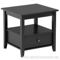 Topeakmart Black End Table with Bottom Drawer and Open Storage Shelf for Living Room Sofa Side Table - B078XQDKPL