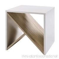 Versanora Bloccare Side Table - White/Natural - B078SWBXV2