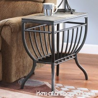 Welded Metal Frame Antigo Gunmetal Chair Side End Table with Grilled Styled Lower Shelf - B01NAP7AU5