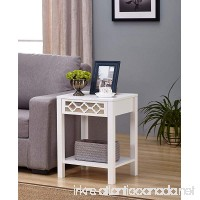 White Finish Glass Front Side End Table Nightstand with Bottom Shelf - B07583TG8S