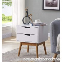 White/Light Walnut Finish Side End Table Nighstand with Two Drawer - Mid-Century Style - B07DD26MFX