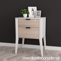 White / Sonoma Finish Oak Side End Table Nightstand with Two Storage Drawer 26H - B076R5BZG3