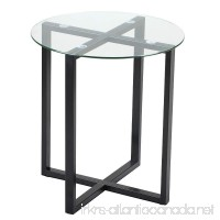 Yaheetech End Side Table Round Glass Top Coffee Sofa Table Modern Small Spaces Bedroom Living Room Furniture - B01NAJEPML
