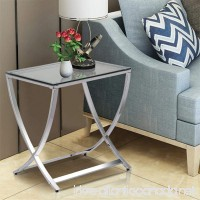 Yaheetech Stylish Clear Tempered Glass Small End Table Chrome Finish Living Room Furniture  Silver - B071HHY9C3