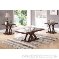 3PCS Coffee End Table Set features uniquely crafted platform leg supports display a smooth wood tabletop - B01LWZE3ZI