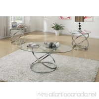 3PCS Modern Glass Top Coffee End Table Set with Spinning Circles Base Design - B01M0BGMI9