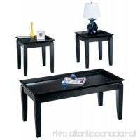 Ashley Furniture Signature Design - Delormy Occasional Table Set - Contemporary Tray-top Design - Set of 3 - Almost Black - B002OF3XSA