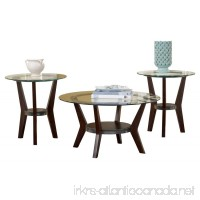 Ashley Furniture Signature Design - Fantell Circular Glass Top Occasional Table Set - Contains Cocktail Table & 2 End Tables - Contemporary - Dark Brown - B006F61YRG