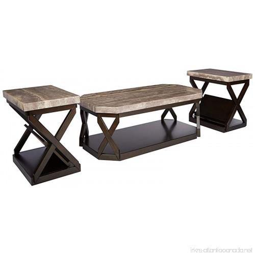 Ashley Furniture Signature Design Radilyn Occasional Table Set End Tables And Coffee 3 Piece Rectangular Gray Faux Marble