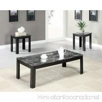 Black/Grey Marble-Look Top 3 Piece Table Set - B00ROCDGJ4