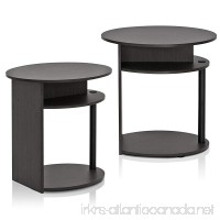 Furinno JAYA Simple Design Oval End Table Set of 2 Walnut 2-15080WNBK - B073P4F8R2
