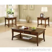Furniture of America 3-Piece Lensar Table Set Dark Oak Finish - B00FC1E2TC