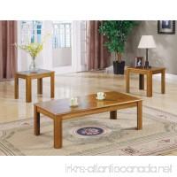Inland Empire Furniture Mindel Oak Parquet Top 3 Piece Coffee and End Table Set - B008R9C5FY