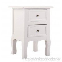 JAXPETY New White Curved Legs Accent Side End Table Nigh stand Furniture Bedroom W/2 Drawers - B074MPL7L9
