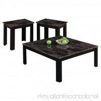 Monarch I 7988P Marble-Look Top 3-Piece Square Table Set Black/Grey - B00FWTB70G