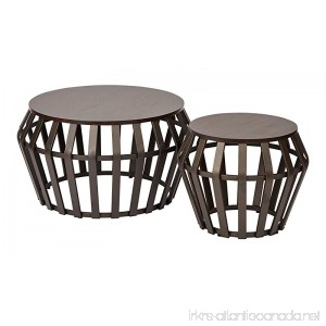 OSP Designs Office Star Solana 2 Piece Round Accent Table Set Metal Frame and Espresso Wood Finish Top - B00S2SCDVQ