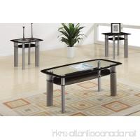 Poundex F3091 Ultra Modern 3 Piece Coffee Set w/Glass Table Top - B00B4MVV88