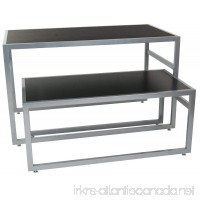 2-Piece Set of Rectangular Nesting Tables  Modern Lines  Steel Frame with MDF Counter (Black) - B078BF5W53