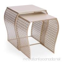 Adeco Luxury Modern Metal Golden Accent Nesting Stackable Side End Table Set of 2 - B01GKIZPEG
