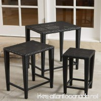 Black All Weather Wicker Nesting End Tables - Set of 3 - B00A50PJHE