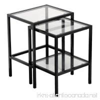 Black Metal Glass Side End Nesting Tables with Shelf Set of 2 + FREE E - Book - B079Z5CBJP