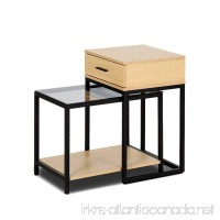 Creatwo Nesting Table Set of 2  2-Pieces Nesting Table Set with Drawer for Sofa Living Room  Burlywood - B074HCB79Q