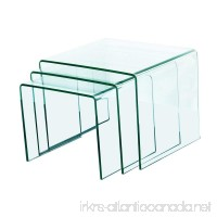 """Fab Glass and Mirror Bent Glass Nest Tables  3/8"""" Thick  Clear  3 Piece - B0119RMNEI"""