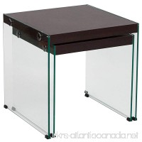 Flash Furniture Wynwood Collection Dark Ash Wood Grain Finish Nesting Tables with Glass Frame - B078Y3GBT1